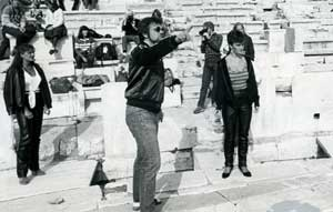 Stephen Book directing Antigone in the Theater of Dionysos in Athens, Greece